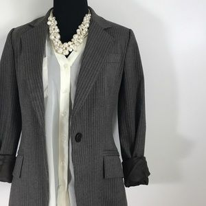 Zara Basic Pin Stripe Striped Brown Button Blazer