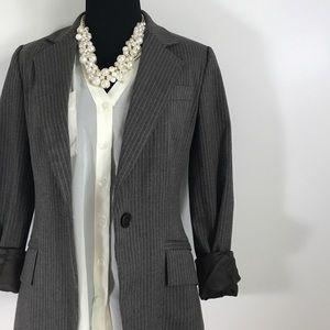 Zara Jackets & Blazers - Zara Basic Pin Stripe Striped Brown Button Blazer