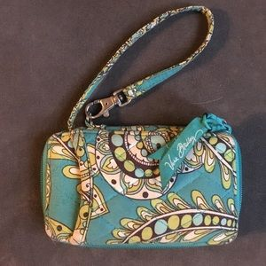 Vera Bradley Blue, yellow and Green cell & wallet