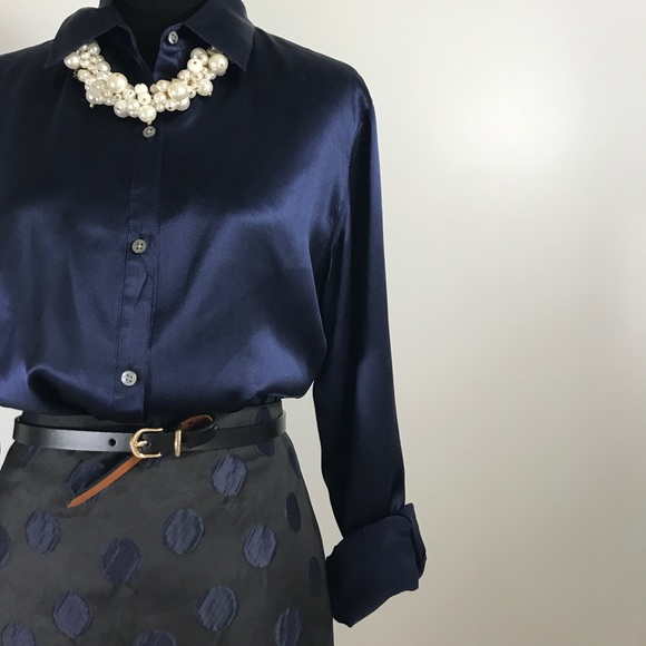Ralph Lauren Tops - Ralph Lauren Navy Blue 100% Silk Blouse Sz. Large