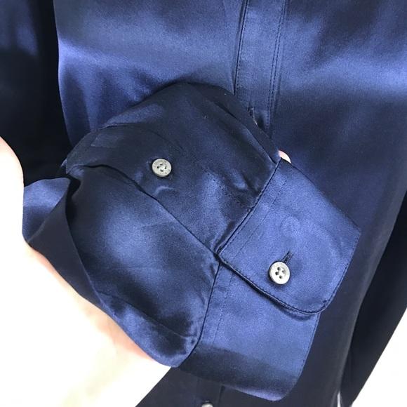 Ralph Lauren Tops - Ralph Lauren Navy Blue 100% Silk Blouse Sz. Large