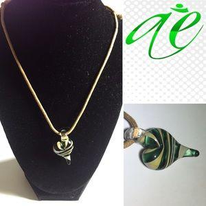 Jewelry - Handblown Glass Heart Charm on adjustable string.