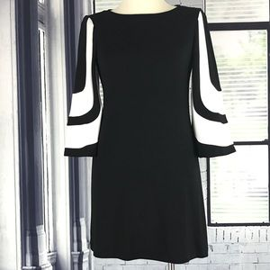 MUSE Black Off White 3/4 Sleeve Mod Shift Dress