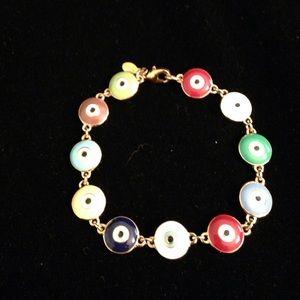 Joan Rivers Multicolor Evil Eye Line Bracelet