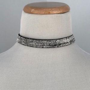 f0e10f0aa92d8 Silver Glitter Choker Boutique