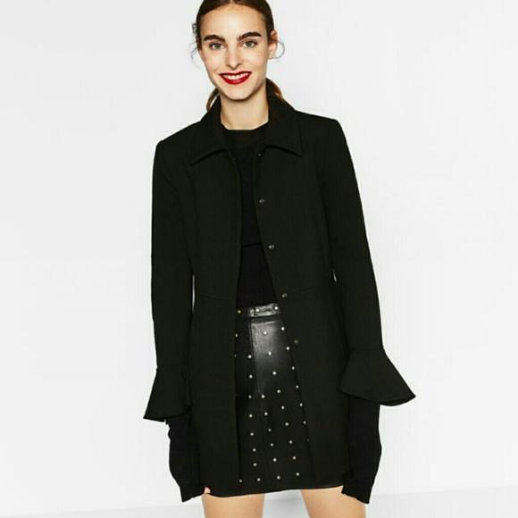 5d4a7409 Zara Frilled Cuff Frock coat black size small NWT
