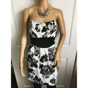 WINDSOR White, Black, and Grey Pleated Dress