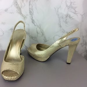NINE WEST Gold Slingback Leather Heels Size 7 1/2