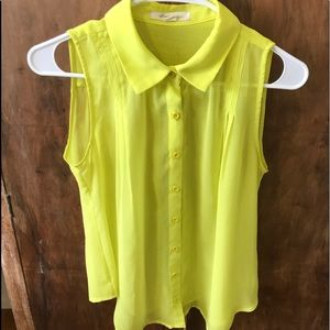 Forever 21 Bright Yellow Sheer Tank Top