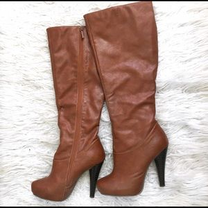 JustFab Shoes - Brown faux leather boots