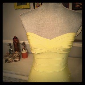 ✂️✂️ Herve Leger yellow strapless bandage dress