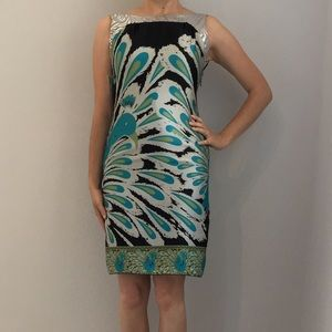 Tricia Fix Dresses & Skirts - Tricia Fix Peacock Print Low Back Sheath Dress