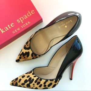 Kate Spade 'Lottie' Leopard Haircalf & Patent Pump
