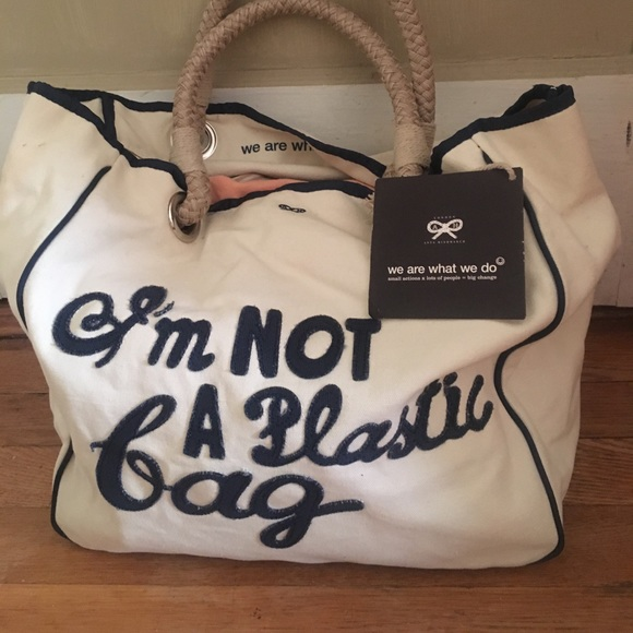 92fad86cefb5 NWT Im Not A Plastic Bag Bag by Anya Hindmarch