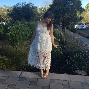 White Cut-Out Lace Midi Dress