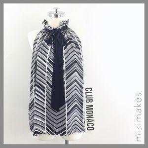 [ club monaco ] grey silk printed halter top bow