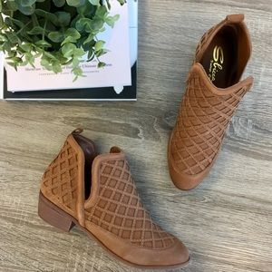 Tan Lattice Ankle Boots