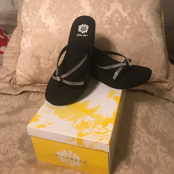 747a73c74 Brand Spankin New Yellow Box Wedge Sandals!