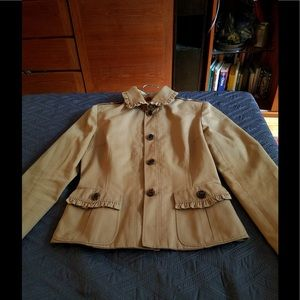 Valentino  ruffled tan  light jacket size 2
