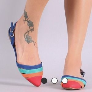 pointe Shoes - Color blocked Slingback Flats in Faux Suede