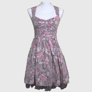 Free People Grey Pink Floral Print Babydoll Dress