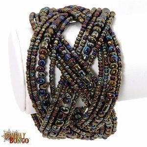 Fair Trade Braided Beaded Pewter Cuff Bracelet