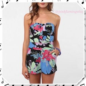 UO Kimchi Blue Field Day Strapless Floral Romper