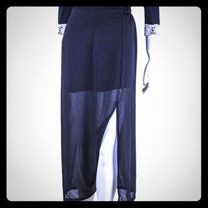 Split Black Pleated Chiffon Maxi Long Skirt