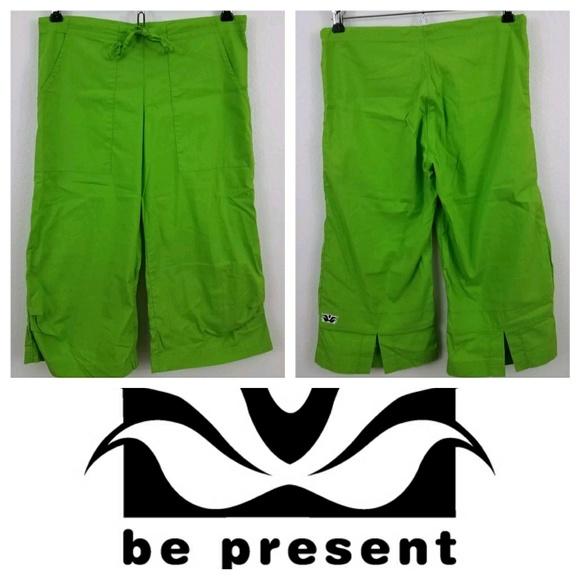 Be Present Yoga Capris Green Lotus From