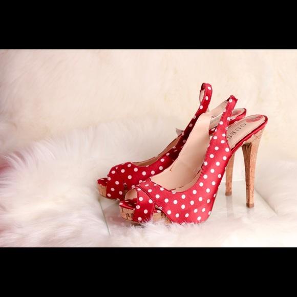 140d56057d6 GUESS Red w/White Polka Dot Slingback PeepToe Heel