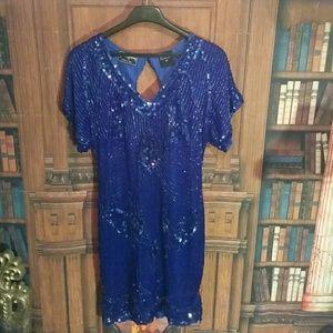 Beaded vintage blue dress