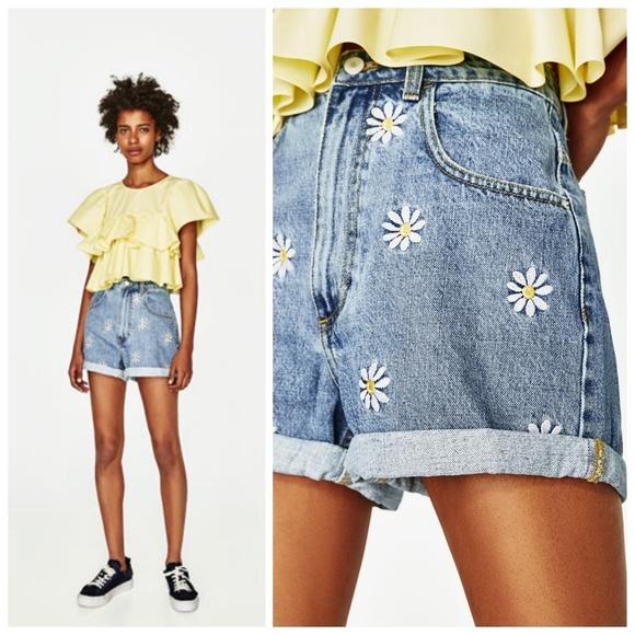 82bd16cd Zara Shorts | Nwt Daisy Embroidered Mom Jean Short 36 | Poshmark