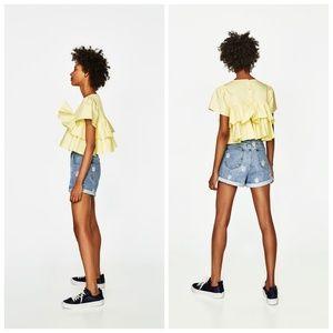 c99d6715a4 Zara Shorts | Nwt Daisy Embroidered Mom Jean Short 36 | Poshmark