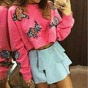 Zara Pink Sweatshirt with Patches
