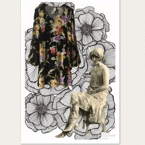 MSK Floral Shift Dress With Bell Sleeves