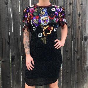 Vintage Nite Line Sequin + Beaded Dress, 4
