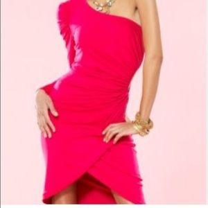 BEBE Kardashian Knit cut out one shoulder dress