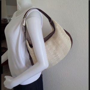 Hogan Handbags - HOGAN Natural Raffia Leather Trim Hobo Bag