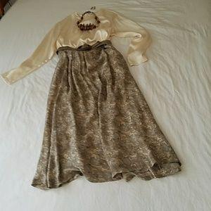 Vintage long sleeve cream silk blouse