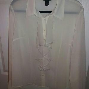Lane Bryant Tops - Lane Bryant sheer cream victorian blouse. 14/16