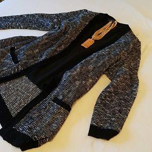 Vintage long sleeve black silk crepe blouse