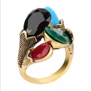 Jewelry - 5/$25 statement ring gold black green blue red 8