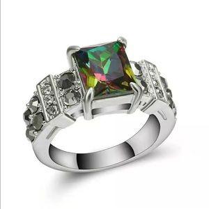 Jewelry - 5/$25 rainbow silver ring wedding engagement sz 8