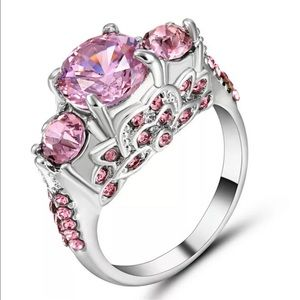 Jewelry - 5/$25 pink & silver ring wedding engagement 8