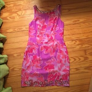 Lilly Pulitzer Dresses & Skirts - Lilly Pulitzer Pink & Lavender Beaded Floral Dress