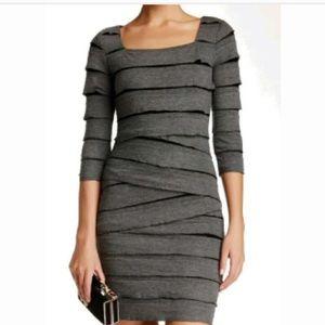 NWT Max Studio Grey Layered 3/4 sleeve dress S
