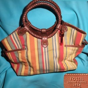 FOSSIL Canvas/leather Hobo Tote