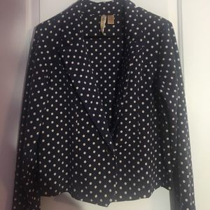 Jackets & Blazers - Navy blue and white polka dot blazer