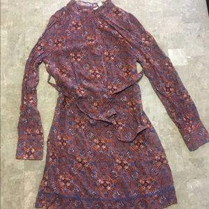 High neck abstract design long sleeve dress...NWOT