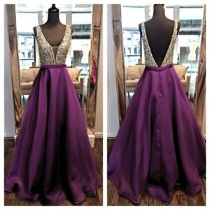 Dresses & Skirts - Diamond Rhinestone Purple V-Cut Evening Gown